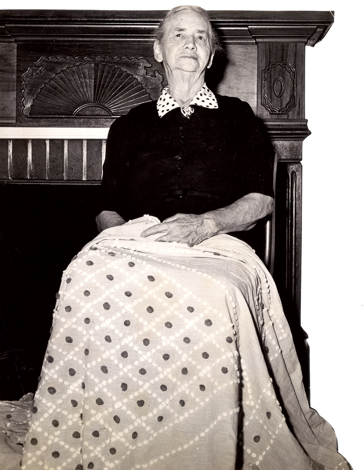 CATHERINE EVANS WHITENER with a candlewick bedspread, circa 1960.  Courtesy of Bandy Heritage Center for Northwest Georgia, Carpet and Rug Institute Photograph Collection.