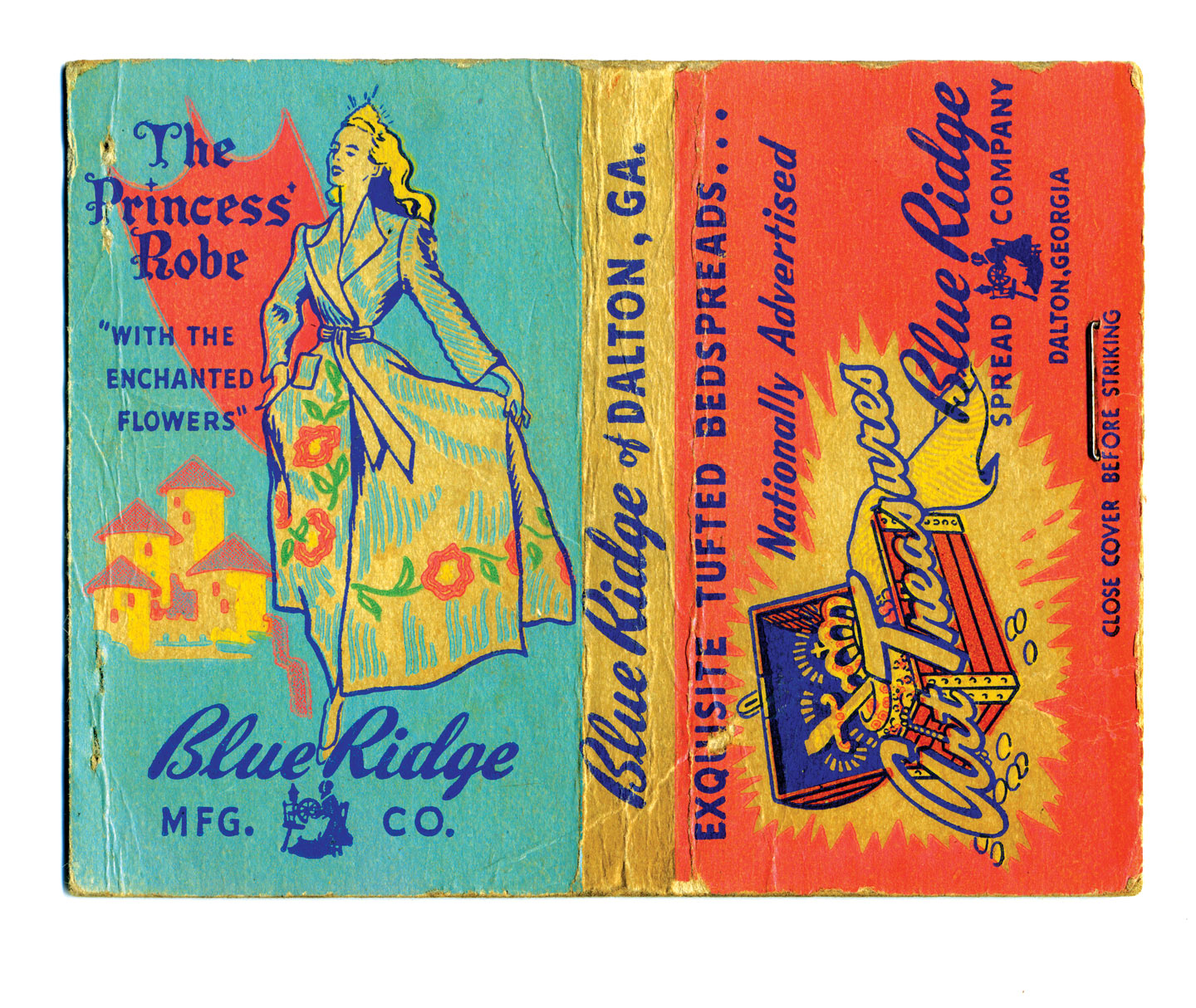 MATCHBOOK COVER advertisement for Blue Ridge Manufacturing Company, circa 1945.  Private Collection.