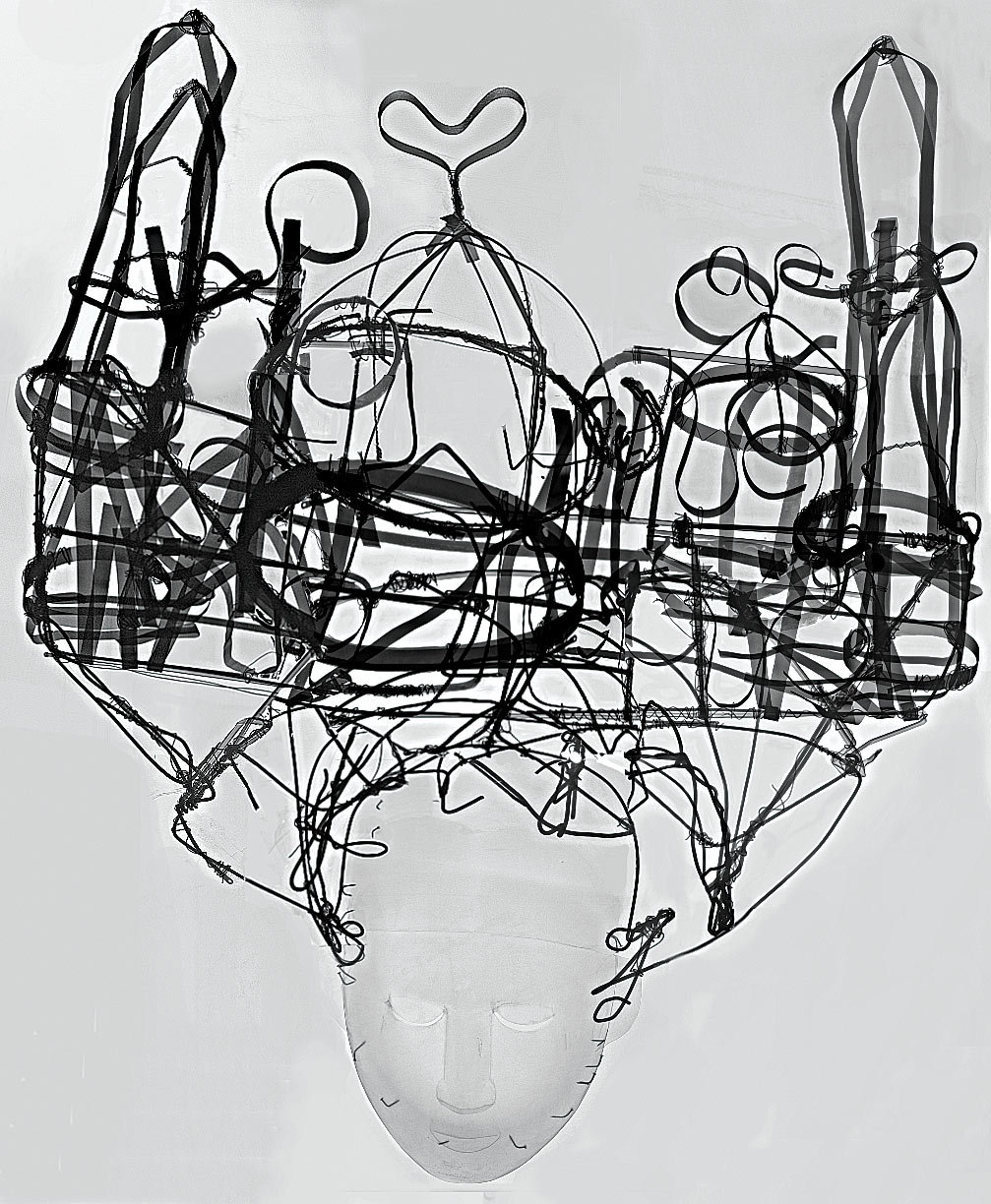 X-RAY OF MASQUERADE HEADDRESS shown above depicting the structural engineering of the object primarily using wires of different gauges. CT scan and X-Ray made possible with the cooperation of the UCLA Radiology Department, Translational Research Imaging Center.