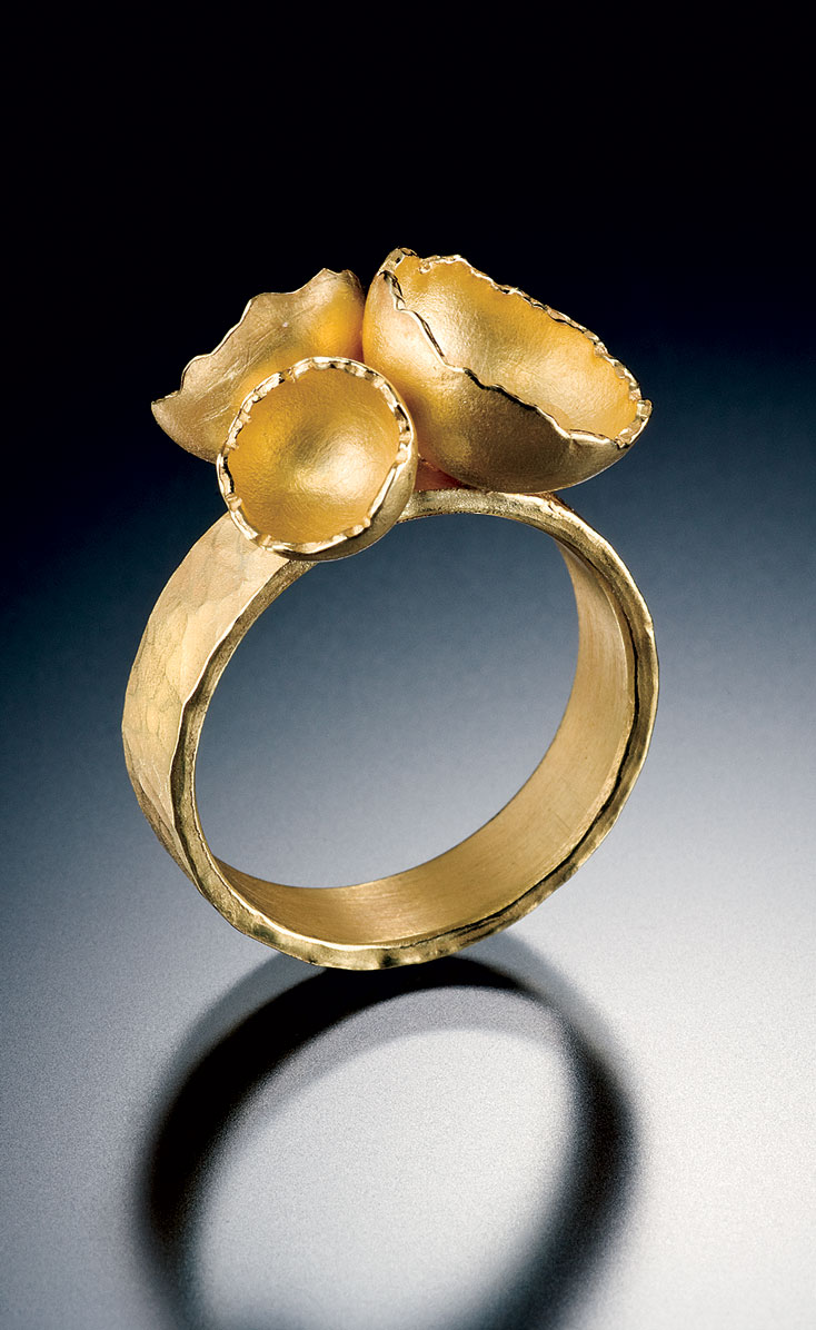 TRIPLE SHELL RING   of eighteen karat gold, 2008.  Photograph by Hap Sakwa.