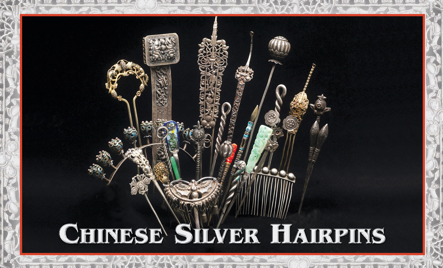 CHINESE SILVER HAIRPINS, an excellent representative sample of the numerous styles, from single to multi-tine examples. A number are decorated by enameling, gilding or set with glass simulations of jade and coral. These are fabricated, cast or die-struck, some with multiple techniques. Sizes range from 8.5 to 21.2 centimeters (cm) long, and 0.6 to 13.4 centimeters wide.  Courtesy of Leekan Designs. Photographs by Robert K. Liu/ Ornament .