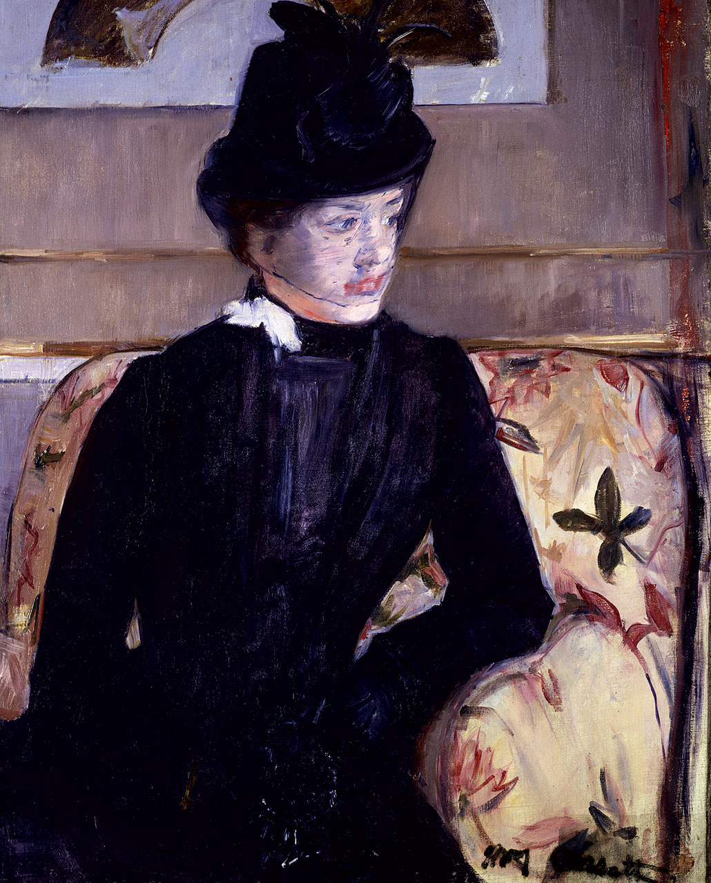 YOUNG WOMAN IN BLACK by Mary Cassatt, oil on canvas, 80.0 x 63.5 centimeters, 1883.  Collection of the Maryland   State Archives: The Peabody Art Collection .