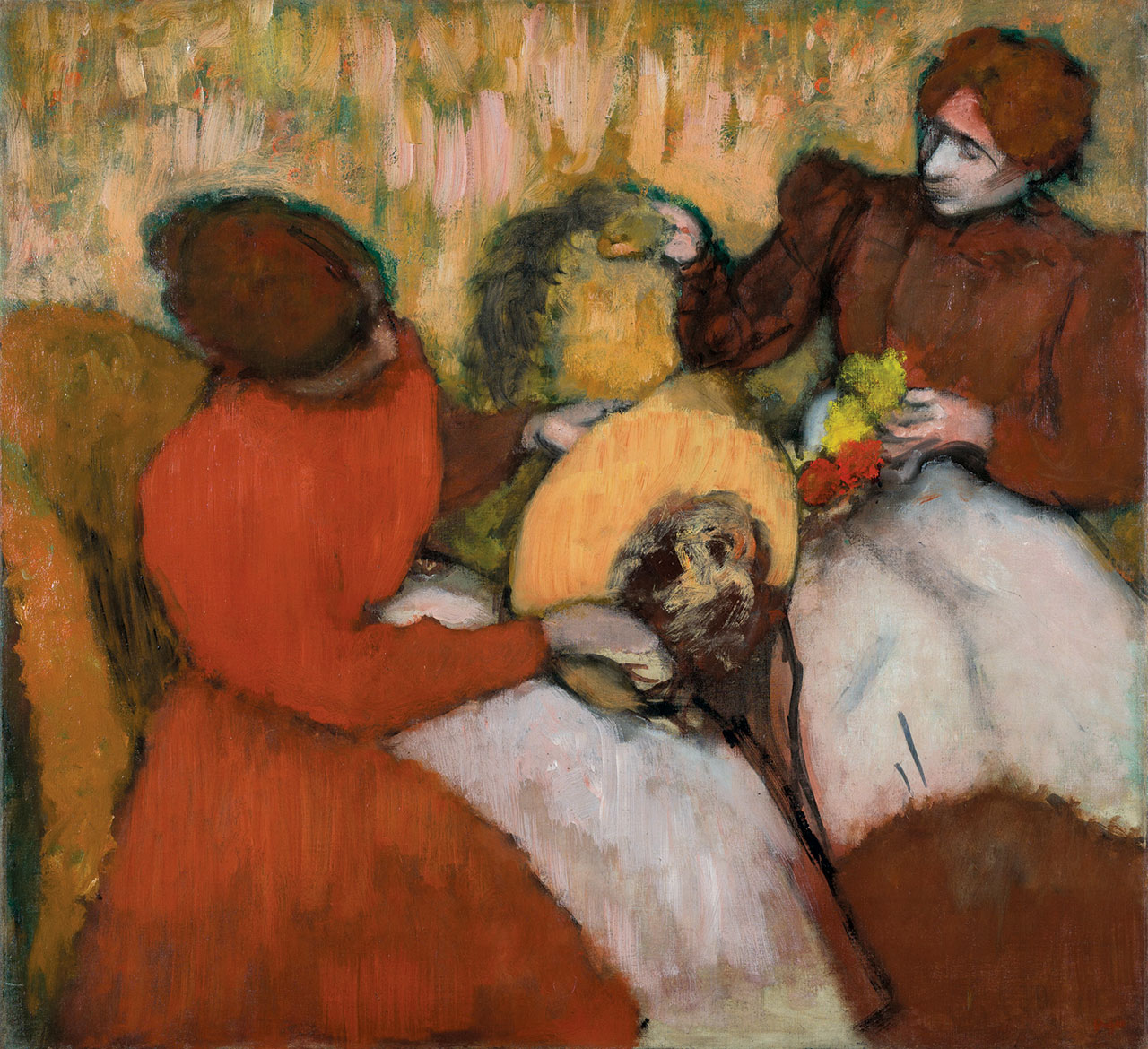 THE MILLINERS by Edgar Degas, oil on canvas, 75.2 x 81.9 centimeters, circa 1898.  Courtesy of Saint Louis Art Museum.