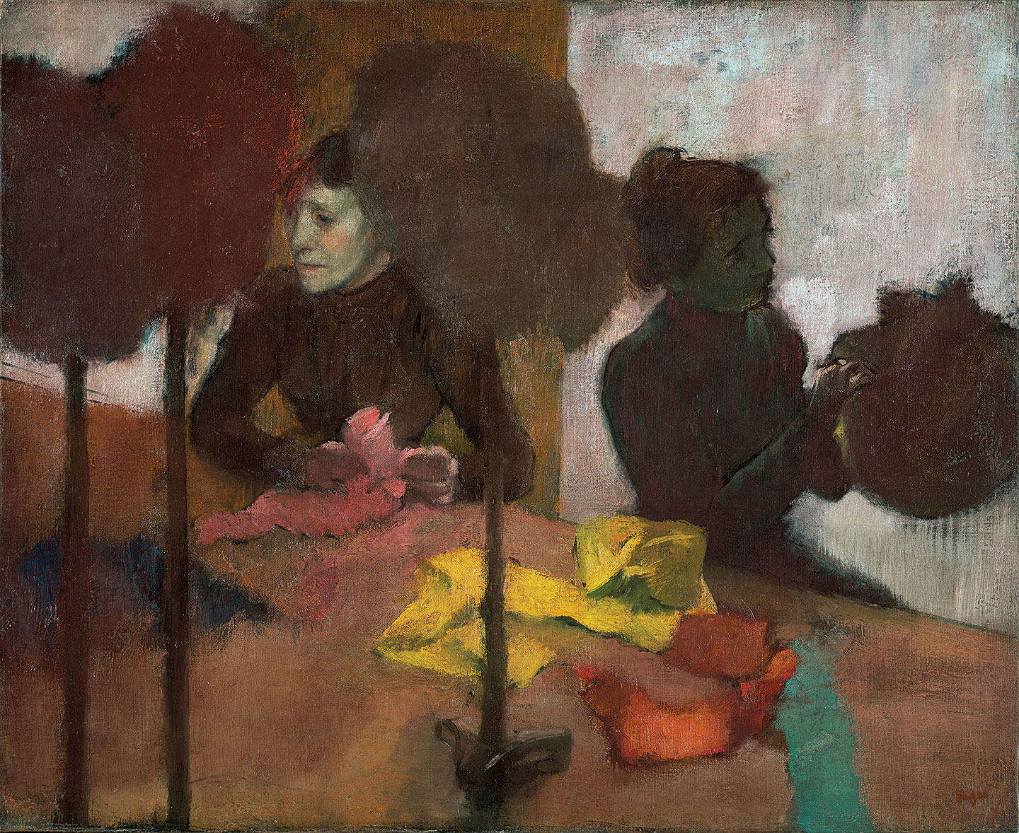 THE MILLINERS by Edgar Degas, oil on canvas, 59.1 × 72.4 centimeters, circa 1882-1905.  Courtesy of The J. Paul Getty Museum .