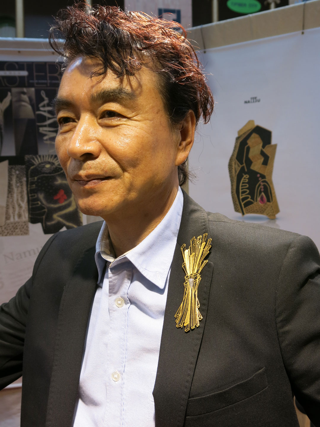 Goldsmith  Namu Cho  rocking one of his new brooches.