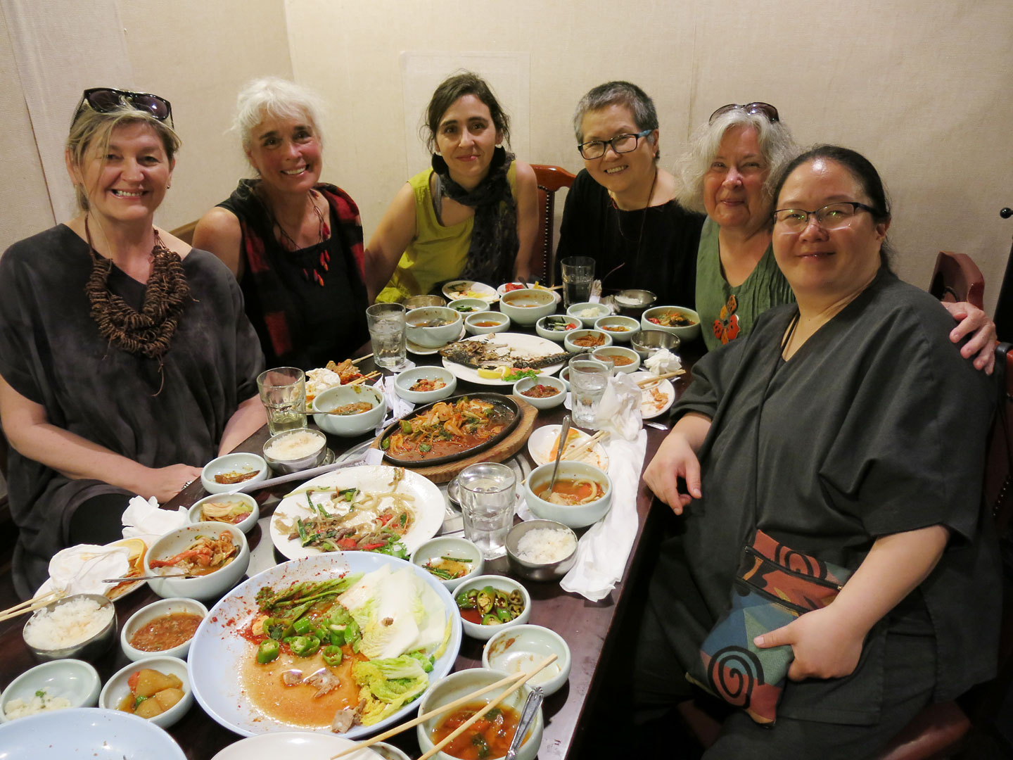 We had a fantastic Korean dinner at  Yechon , hosted by Chunghie Lee. From left to right are Ania Gilmore, Renate Maile-Moskowitz, and Eva Camacho-Sanchez, a felt clothing artist at the Smithsonian Craft Show, Chunghie, Carolyn and Jiyoung Chung.