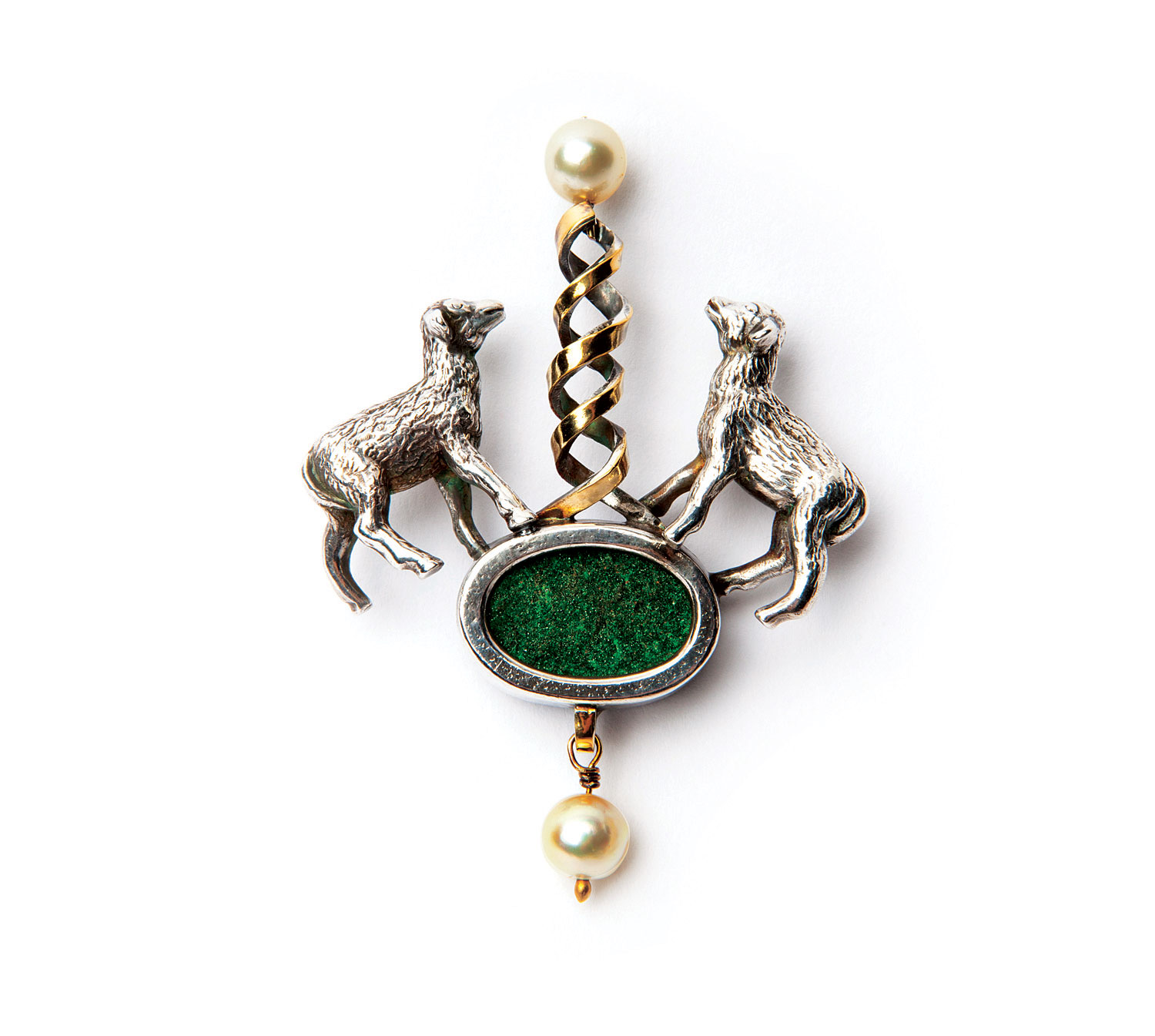 THE CLONING OF DOLLY BROOCH of sterling silver, fine silver, fourteen and eighteen karat gold, druzy uvarovite garnet, pearls, 6.4 x 5.1 x 1.3 centimeters, 1998.  Photograph by Dede Giddens.