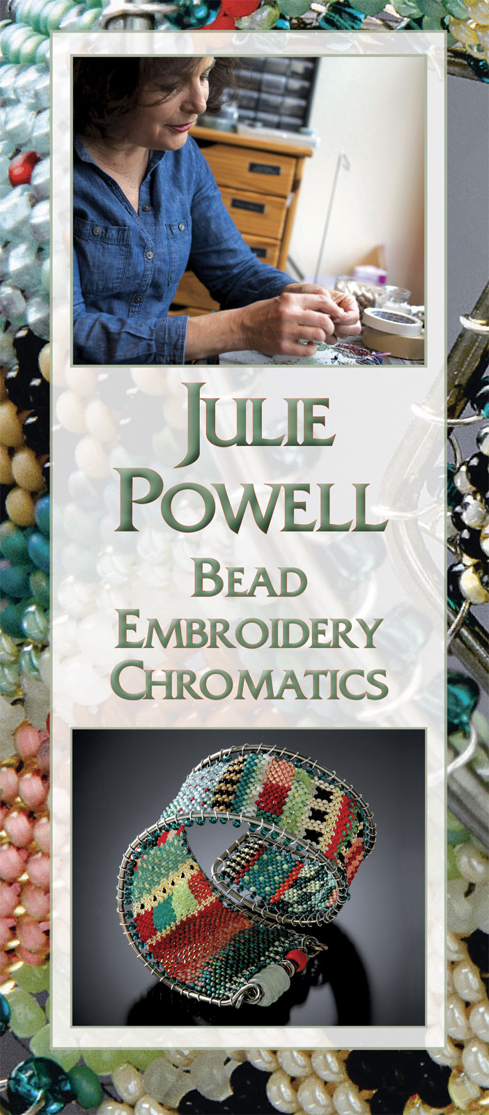 JULIE POWELL.  Photograph by Dog Daze Studio.  PATTERNED WRAP CUFF of glass seed beads, woven off loom in peyote stitch with a needle and fishing line. This woven fabric is created and then stretched over a sterling silver wire frame, and laced with fine sterling silver wire. The flexible cuff wraps around the wrist one and a half times, 25.0 centimeters long x 3.6 centimeters high, 2015.  Jewelry photographs by Larry Sanders.