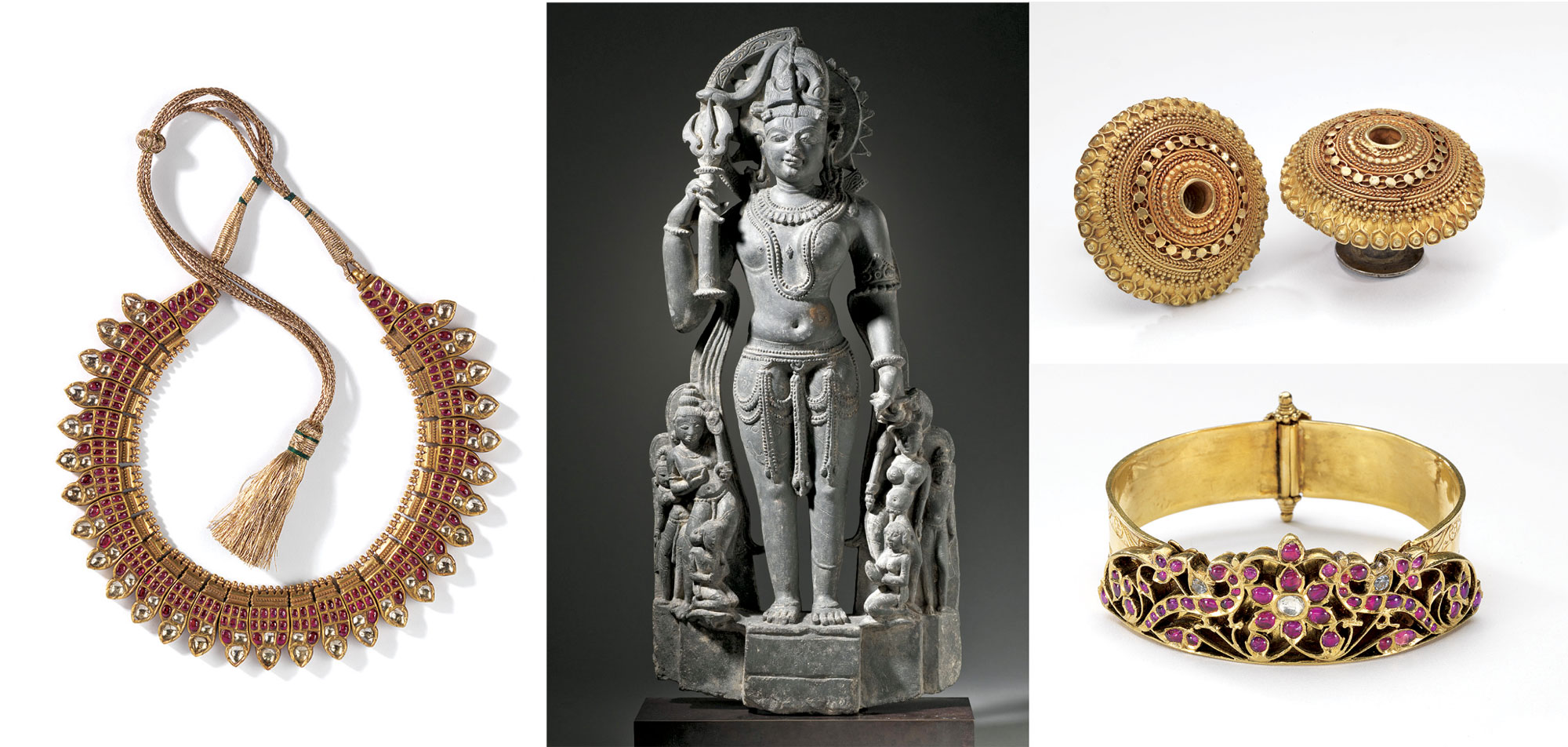 NECKLACE  (nagapada tali)  of gold, diamonds, rubies, 32.0 centimeters long, Kerala, nineteenth century. THE ANDROGYNOUS FORM OF SHIVA AND PARVATI  (Ardhanarishvara)  of black schist, 62.9 x 29.2 x 9.5 centimeters, Rajasthan, eleventh century.  Los Angeles County Museum of Art; Ancient Art Council and the Indian Art Special Purpose Fund.   Photograph courtesy of LACMA.  EARRINGS  (bhungri)  of gold, 3.5 centimeters diameter, Gujarat, early twentieth century.   ARMBAND  (nagothu)  of gold, rubies, white sapphires, 7.0 centimeters diameter, Tamil Nadu, nineteenth century.