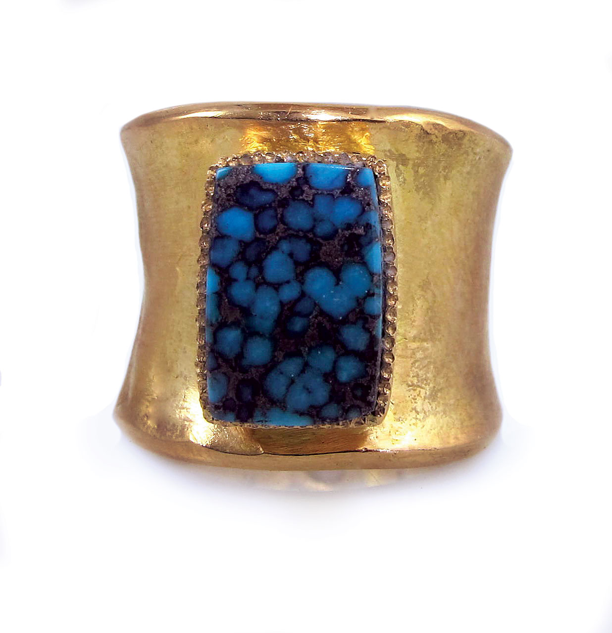BISBEE TURQUOISE RING of eighteen karat yellow gold, Bisbee turquoise, white diamonds, 2.5 x 2.5 x 1.9 centimeters, 2015.