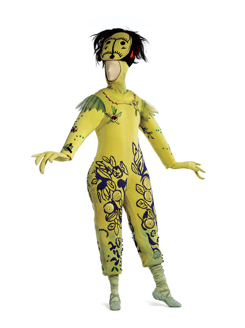 "COSTUME FOR ""THE FIREBIRD"": Blue-And-Yellow Monster from Koschei's Palace Guard of wool/synthetic knit with polyurethane, wool/synthetic knit appliqués, wood beads, silk plain weave (chiffon), and animal hair, 1945.  New York City Ballet."