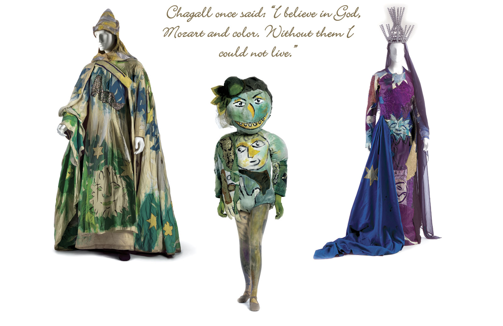 "COSTUMES FOR ""THE MAGIC FLUTE"", 1967.  Metropolitan Opera Archives, New York.  SARASTRO of silk plain weave, painted, with silk plaieave and metallic appliqués. GREEN-FACED MONSTER (WITH REPRODUCTION MASK) of cotton knit, painted, with synthetic/lurex plain weave appliqués, silk plain weave (chiffon) appliqués, synthetic knit, painted, and  papier-mâché . QUEEN OF THE NIGHT (WITH REPRODUCTION HEADDRESS) of silk/synthetic plain weave with silk plain weave (chiffon) appliqué."
