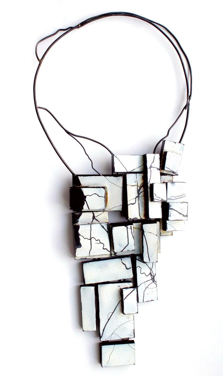 WINTER—THE LAND BELOW NECKLACE of steel, enamel, 30.5 x 16.5 x 3.81 centimeters, 2013.