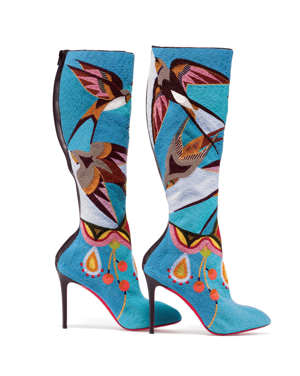 CHRISTIAN LOUBOUTIN BOOTS by Jamie Okuma (Luiseño/Shoshone-Bannock) with antique glass beads, 2013-14.  Photograph by Walter Silver; courtesy of Peabody Essex Museum.