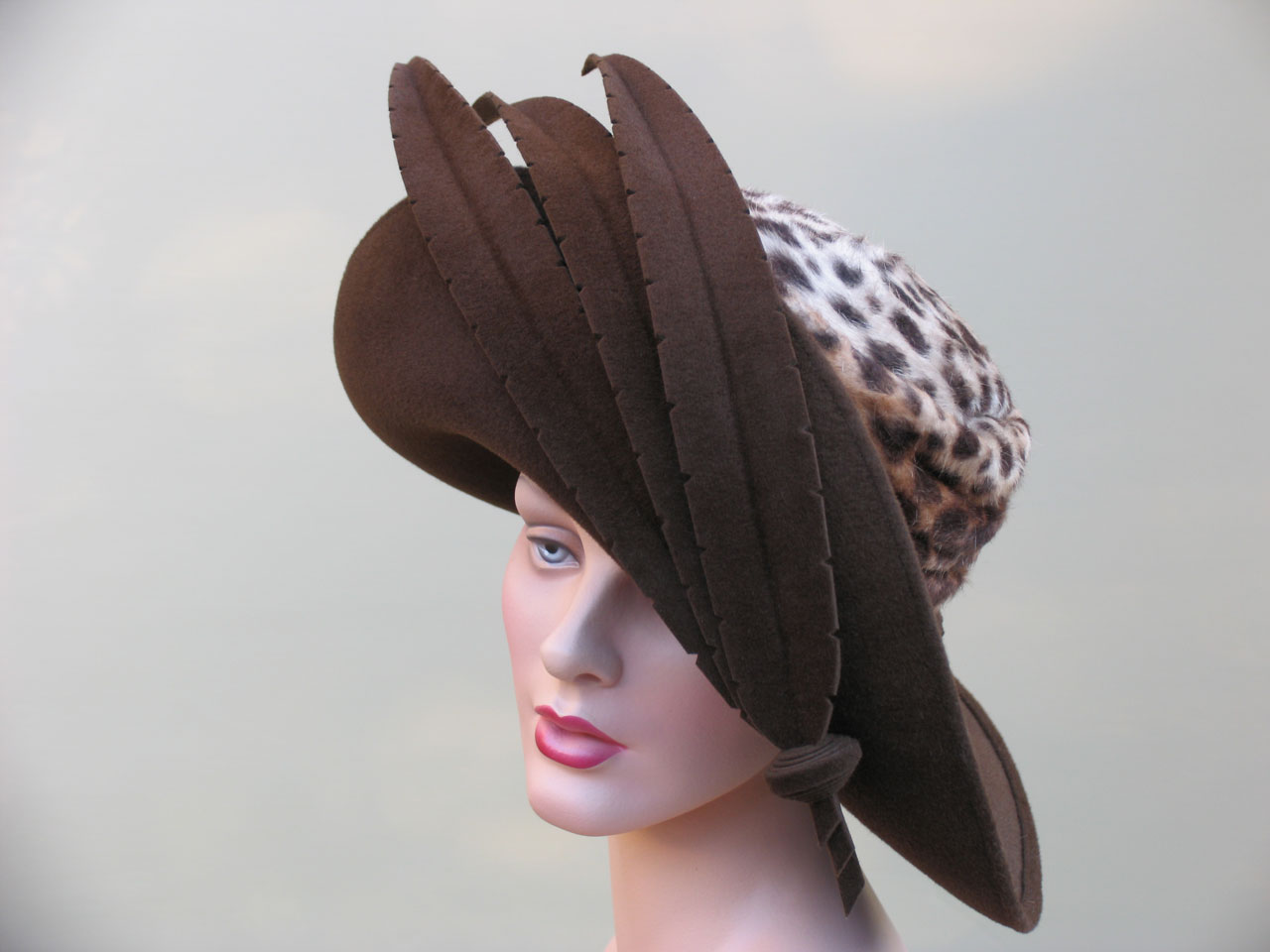 BELLONA of chocolate velour and leopard print felt, hand-cut felt feathers, 2008.