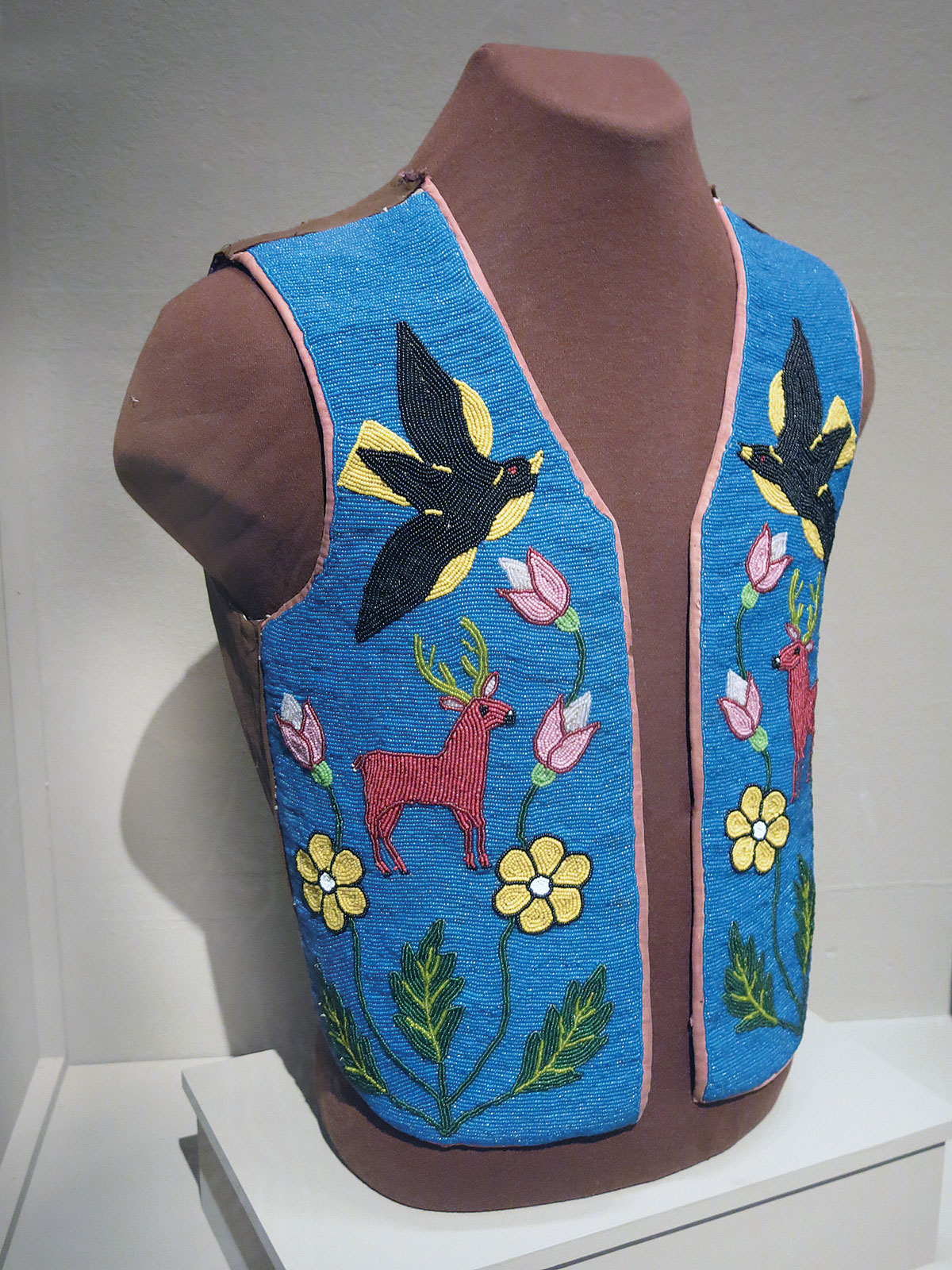 VEST by Plateau artist, 50.8 x 40.6 centimeters, circa 1900. The beads have been sewn onto commercial cotton fabric.  Private collection. Photograph by Ornament.