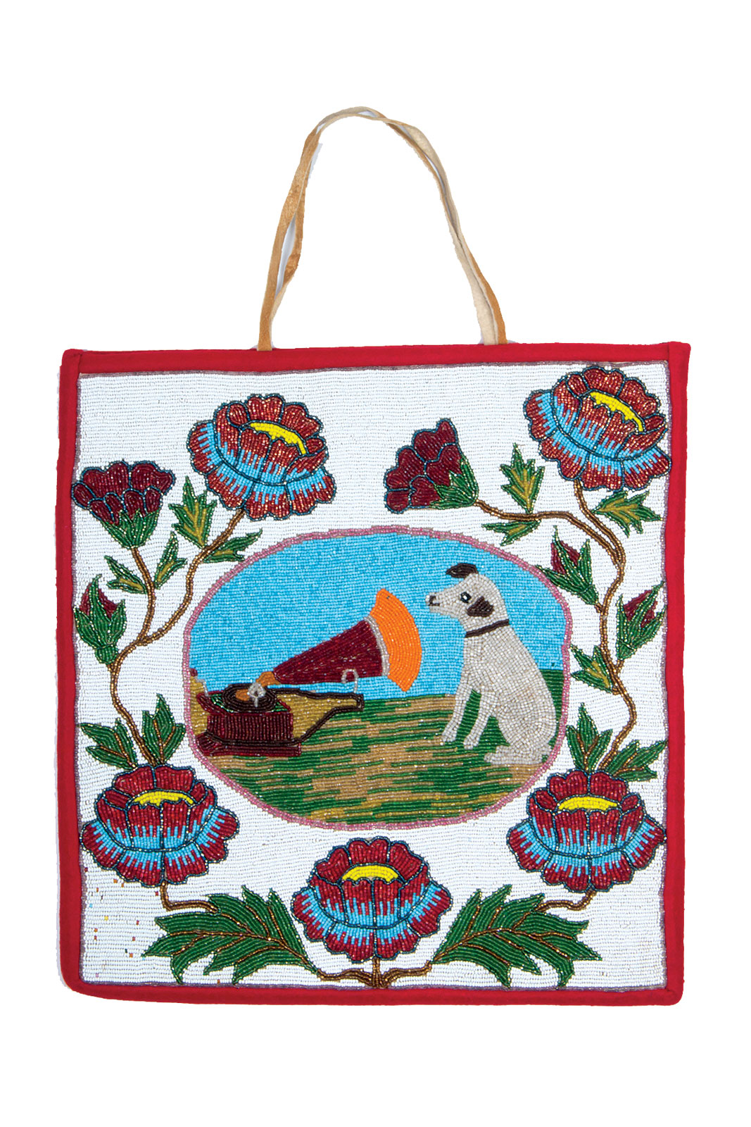 NIPPER FLAT BAG by Plateau artist, 62.2 x 38.1 centimeters, circa 1940.  Private collection.  Plateau beadworkers drew inspiration from many sources, including advertising art. This bag depicts Nipper, the trademark of the RCA Victor company beginning in 1929.