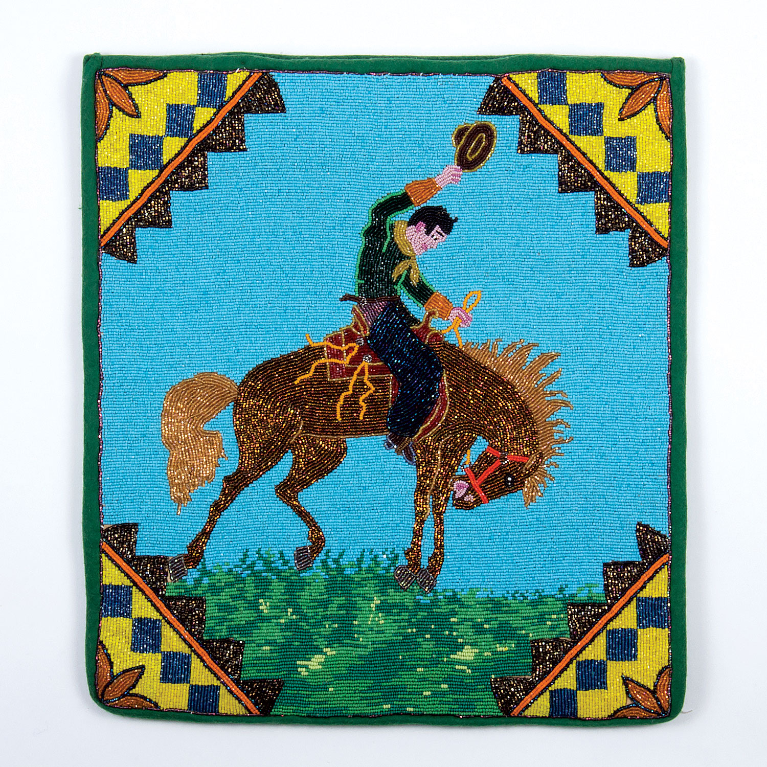 BRONC FLAT BAG by Plateau artist, 62.9 x 38.1 centimeters, circa 1930.  Private collection.