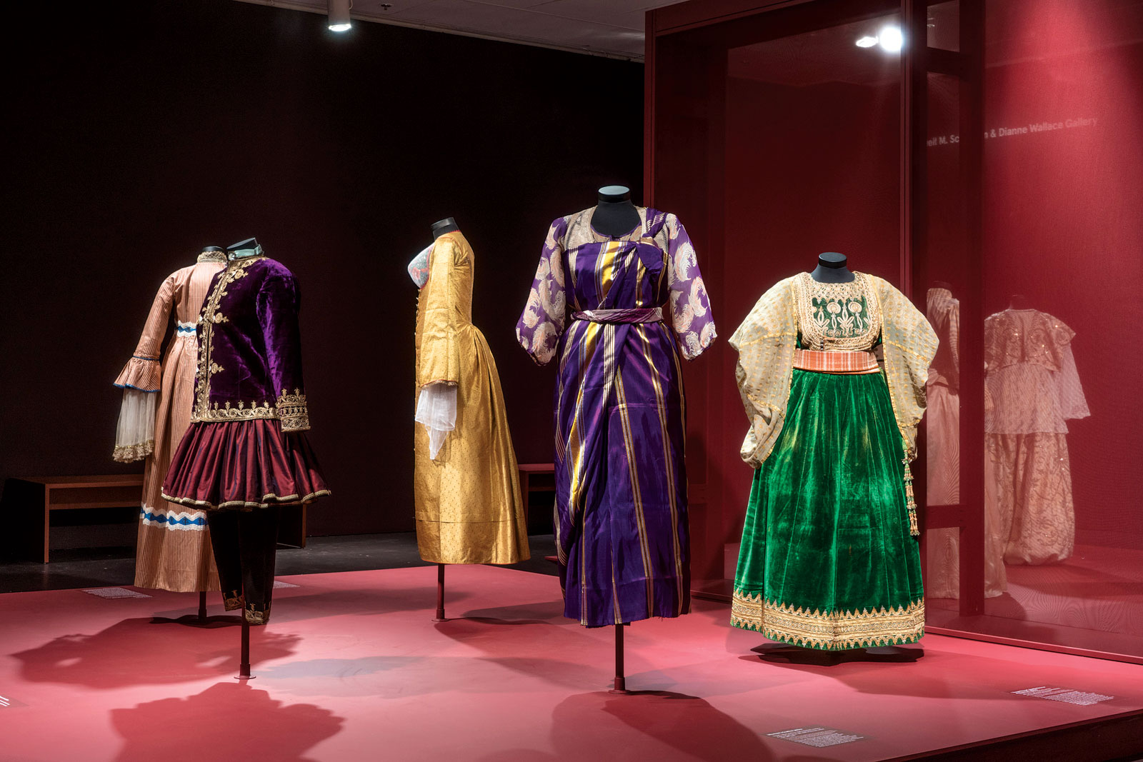 "INSTALLATION VIEW of Interweaving Cultures, Section Two of ""Veiled Meanings: Fashioning Jewish Dress,"" at The Jewish Museum.  Photograph by Jason Mandella, courtesy of The Jewish Museum, Jerusalem."