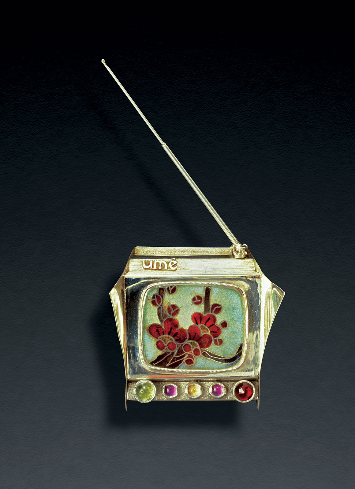 UME TV RING CONTAINER of sterling silver,  cloisonné  enamel, jeweled knobs, rotating antenna, 1976.