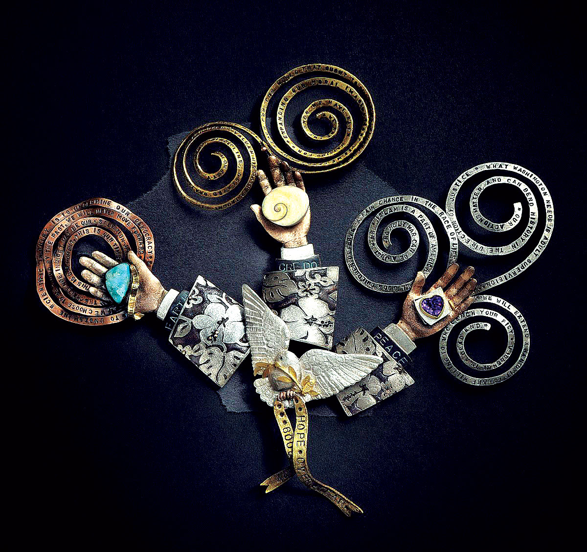 OBAMA, MAN OF THE YEAR, 2009 NOBEL PRIZE. Suite of four brooches: Hope over fear, Earth, Credo, and Peace of sterling silver, fine silver, eighteen karat gold,  shakudo ,  shibuichi , copper, brass, drusy chrysocolla, small operculum, amethyst, 2010. The four-part assembly of brooches was created for an exhibition held at Facèré Gallery to celebrate its gallerist Karen Lorene's seventieth birthday. Seventy artists created seventy jewelry works for the exhibition.