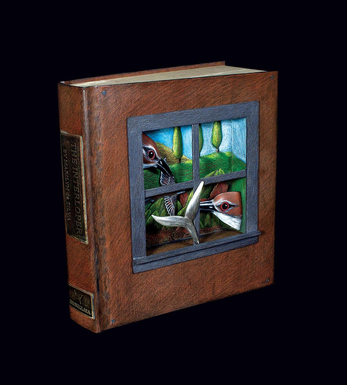 MARILYN DA SILVA: The Interloper of sterling silver, copper, brass, wood, gesso, colored pencils.