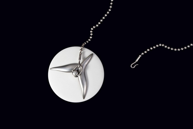 JOSHUA KOSKER: Stopper of rubber, sterling silver.