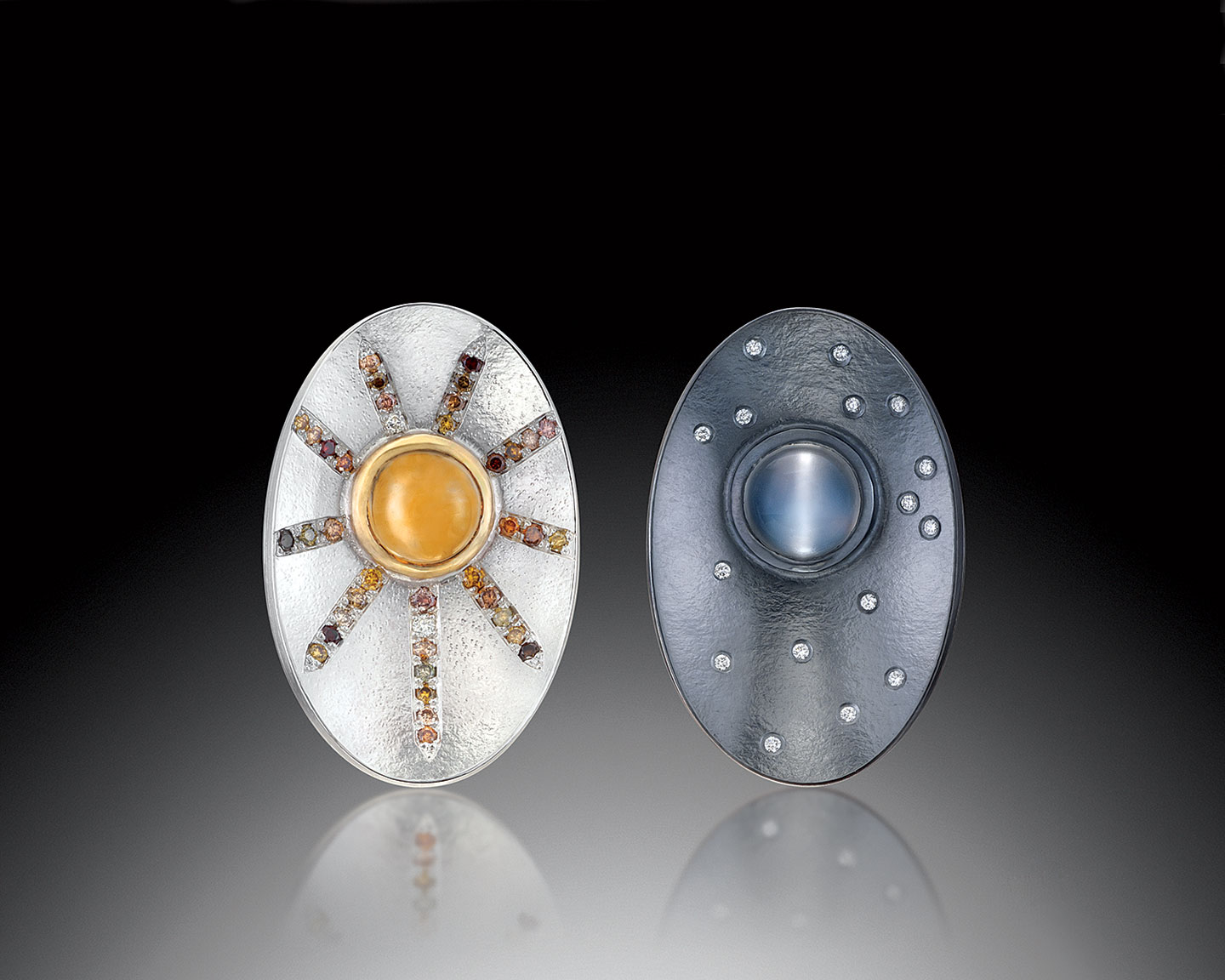 DAY/NIGHT OVAL EARRINGS of oxidized sterling, fine silver, eighteen karat yellow gold, citrine, catseye moonstone, natural colored diamonds, white diamonds, 1.9 x 3.2 x 0.5 centimeters, 2016.