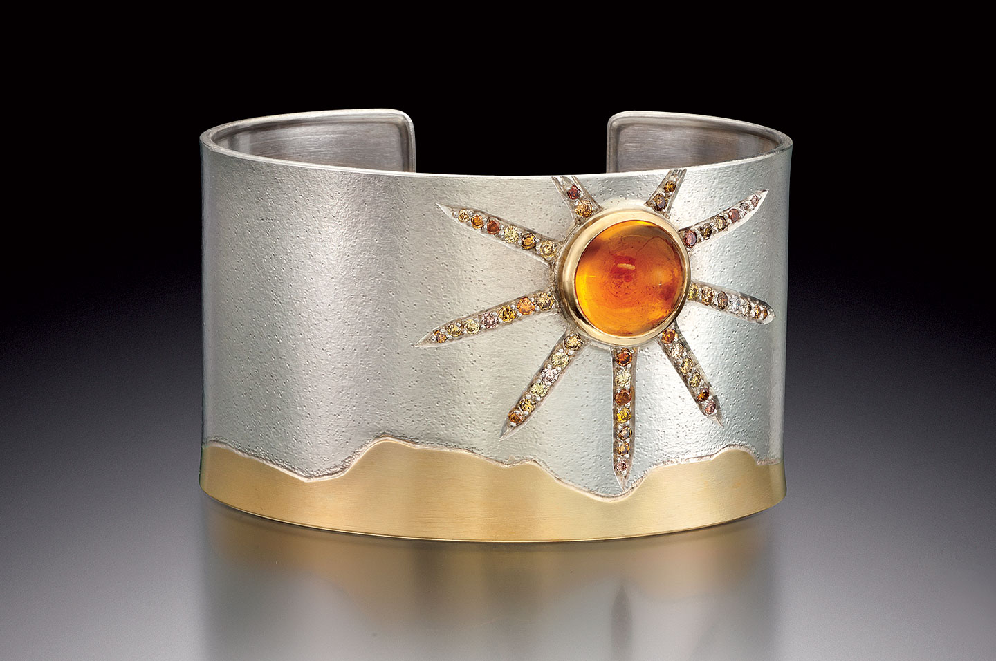 "DAY LANDSCAPE CUFF of sterling silver, eighteen karat yellow gold, citrine, natural colored diamonds, 6.4 x 3.8 x 4.4 centimeters, 2013. ""This is one of my favorite cuff designs which I designed and made when inspired by all things day and night."""