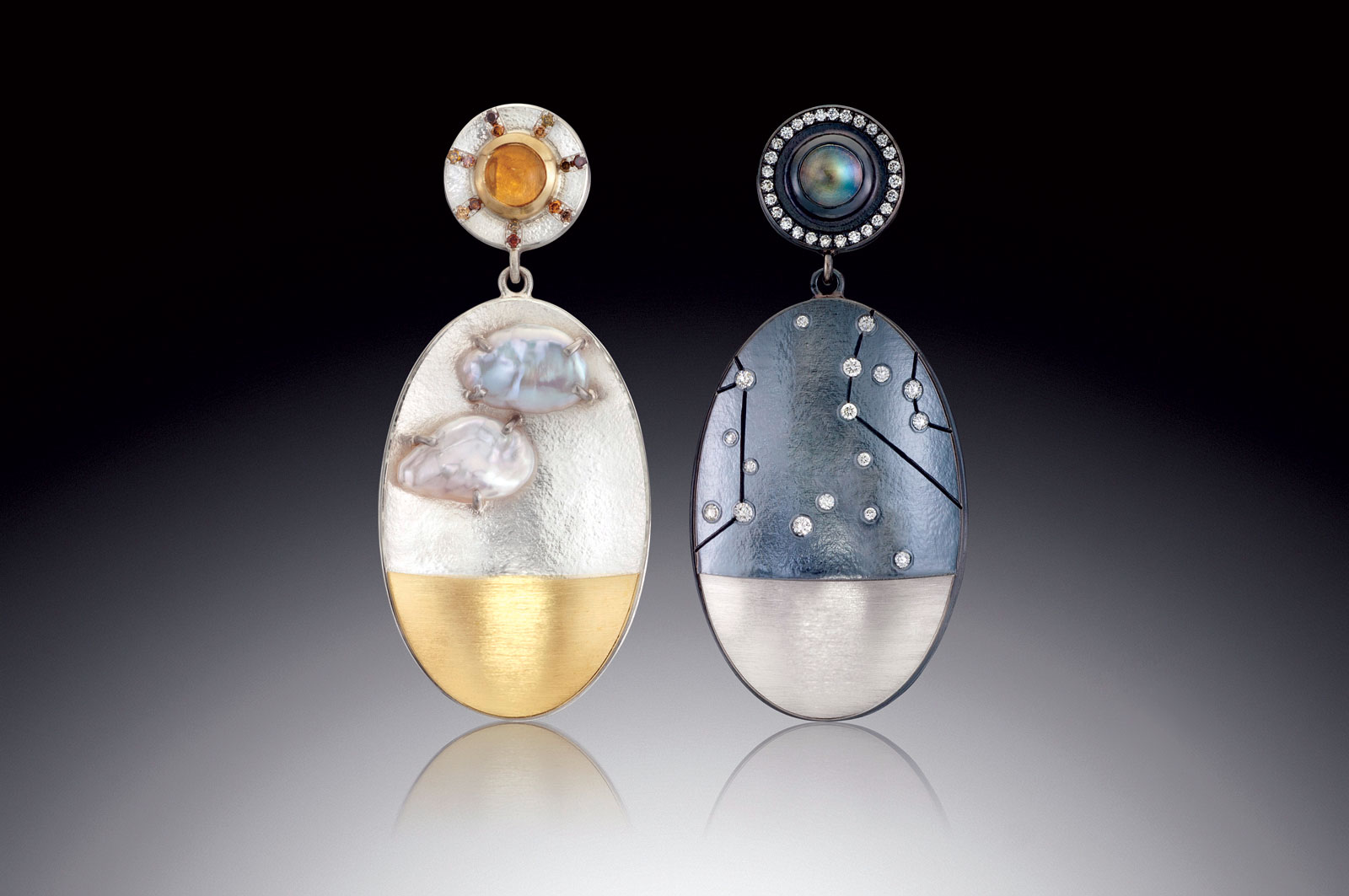 "DAY/NIGHT EARRINGS WITH CLOUDS of oxidized sterling, fine silver, eighteen karat yellow gold, pure palladium, keshi pearls, citrine, natural diamonds, rainbow moonstone, white diamonds, 2.5 x 8.0 x 2.2 centimeters, 2017. ""The Day Earring features keshi pearls for clouds which are prong set over a gold landscape. The citrine sun shines above with natural diamond rays. The Night Earring features white diamonds set accurate to an actual star map with hand-engraved constellation lines."""
