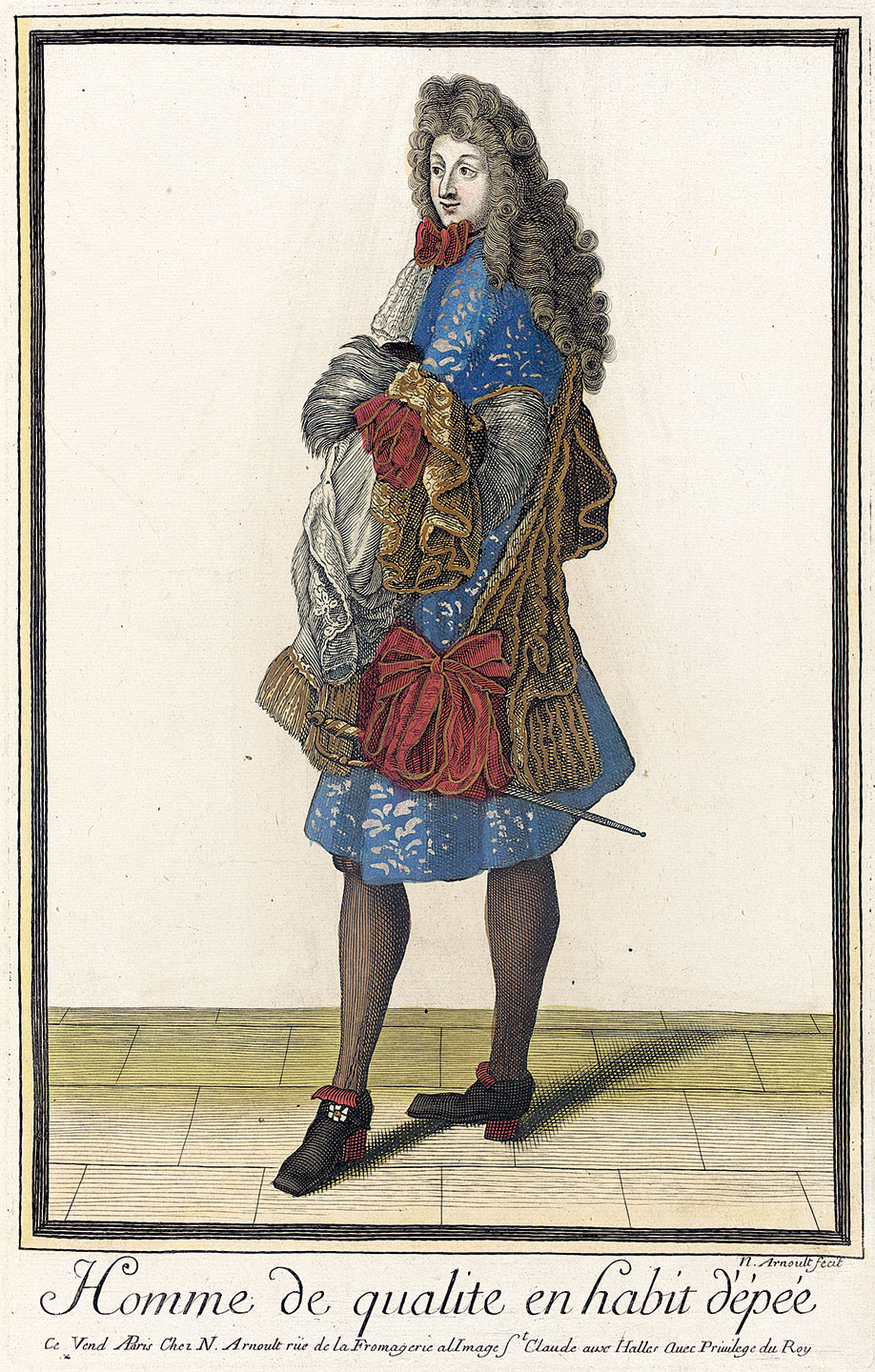 HOMME DE QUALITE EN HABIT D'ÊPÉE by Nicolas Arnoult, French, of handcolored engraving on paper, 1683-1688.  Courtesy of the Los Angeles County Museum of Art.