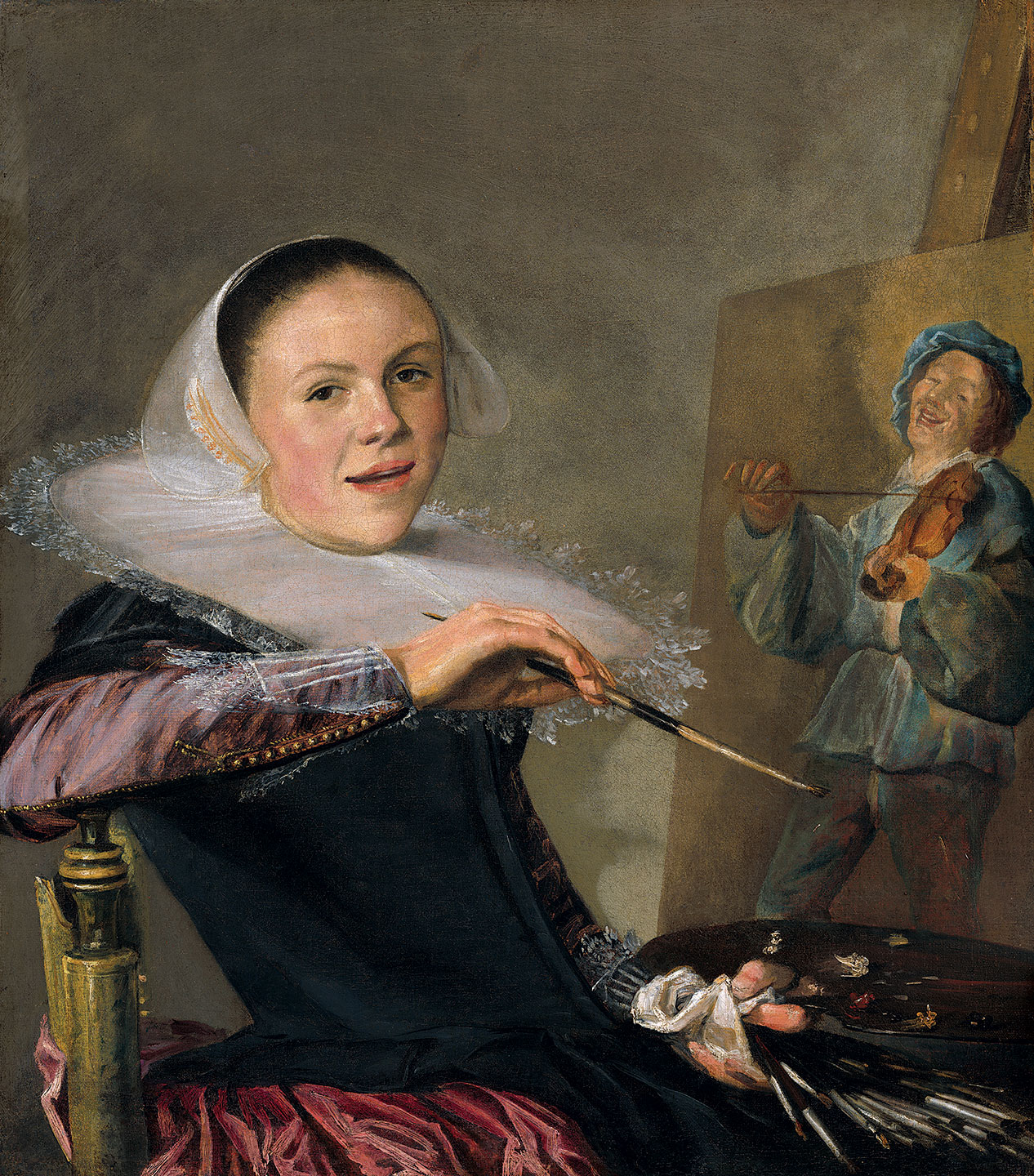 SELF-PORTRAIT by Judith Leyster, Dutch, of oil on canvas, circa 1630.  Gift of Mr. and Mrs. Robert Woods Bliss. Courtesy of the National Gallery of Art.