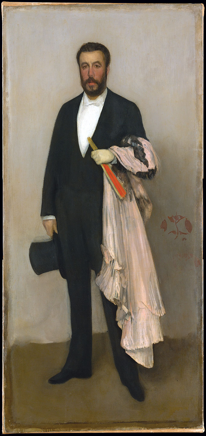 ARRANGEMENT IN FLESH COLOUR AND BLACK: PORTRAIT OF THEODORE DURET by James McNeill Whistler, of oil on canvas, 1883.  Catharine Lorillard Wolfe Collection. Courtesy of the Metropolitan Museum of Art.
