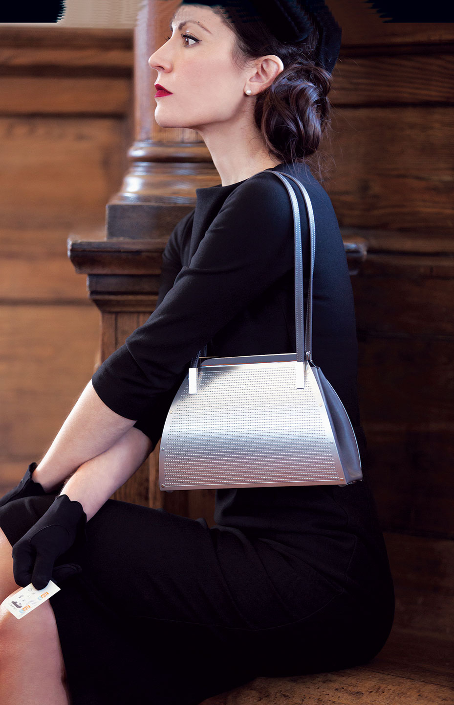 LONDON BAG.  Model: Kimberly Scola. Photograph by Miana Jun.