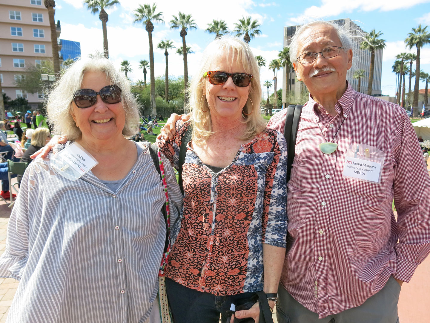 ORNAMENT COEDITORS CAROLYN L. E. BENESH AND ROBERT K. LIU with Idyllwild Arts Summer Program Director Heather Companiott. Companiott also heads the Native American Program & Festival at Idyllwild. The three have known each other for years.