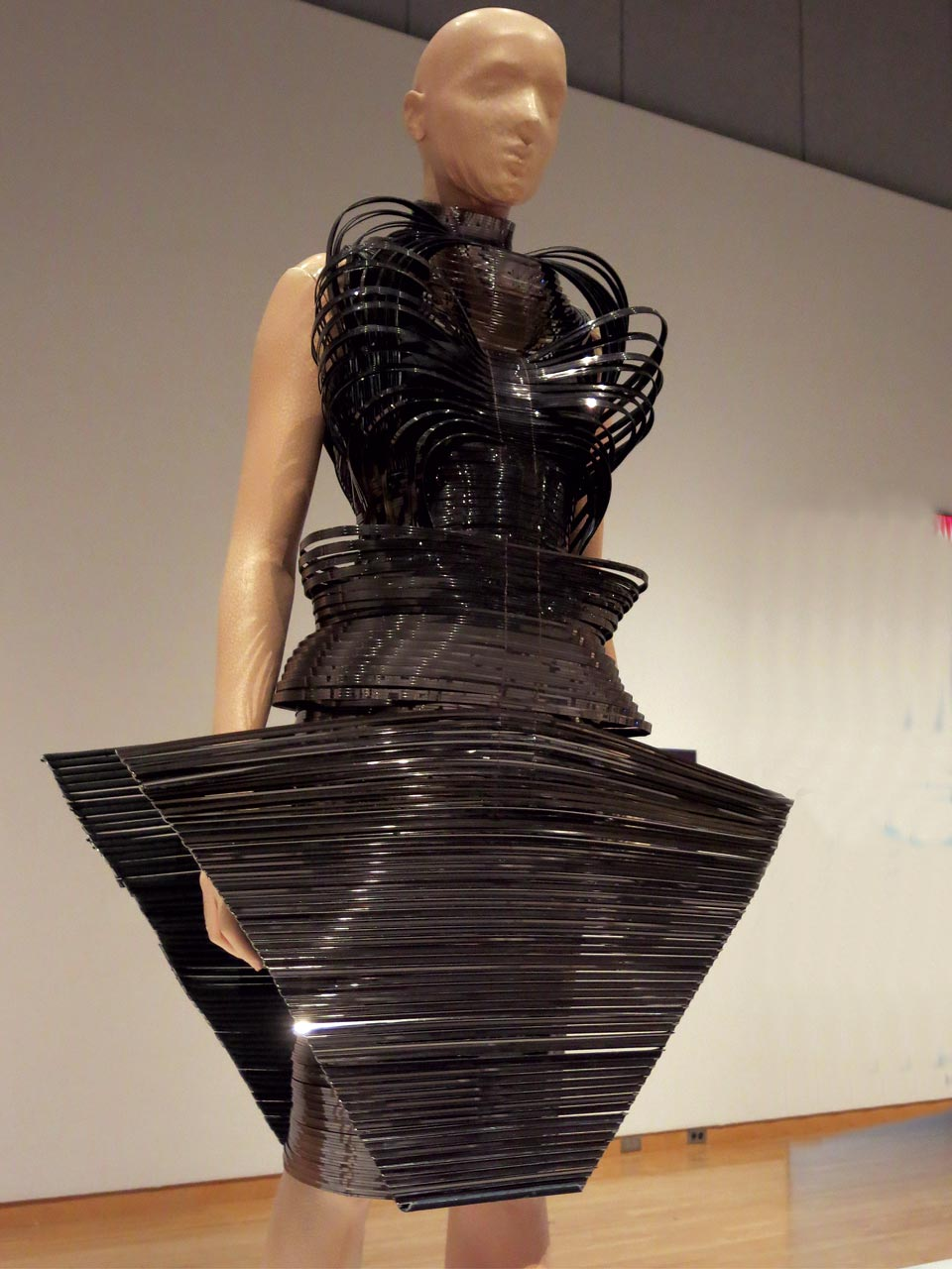 MICRO DRESS from 2012 collection of metallic coated stripes, tulle and cotton.  Photograph by Patrick R. Benesh-Liu.