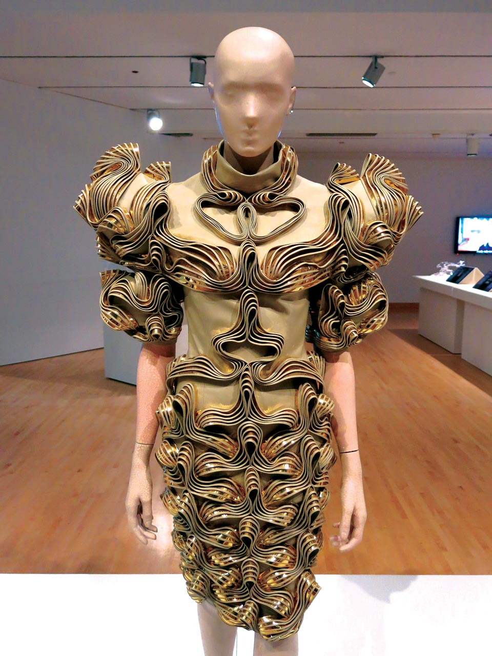 RADIATION INVASION DRESS from 2009 collection of faux leather, gold foil, cotton, and tulle.  Photograph by Patrick R. Benesh-Liu.