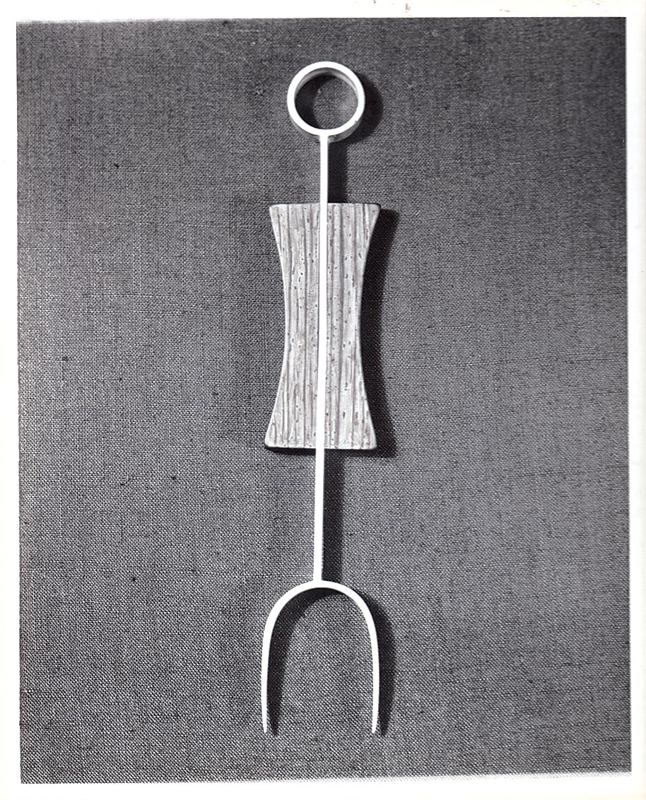 VINTAGE PHOTOGRAPH of a silver and cocobolo pickle fork.  Collection of Jewelry and Metalwork, Lamar Dodd School of Art, University of Georgia. Photograph by Wiley Sanderson.