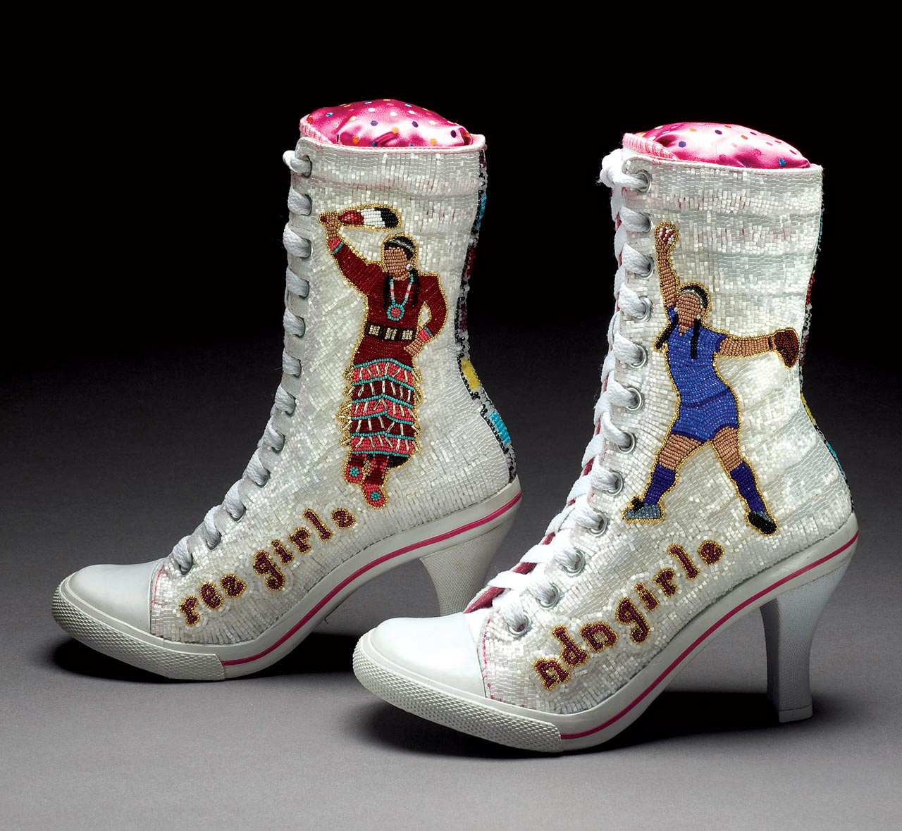 MUSEUM OF INTERNATIONAL FOLK ART:  Shown are ndn girlz / rez girlz sneakers by Teri Greeves.
