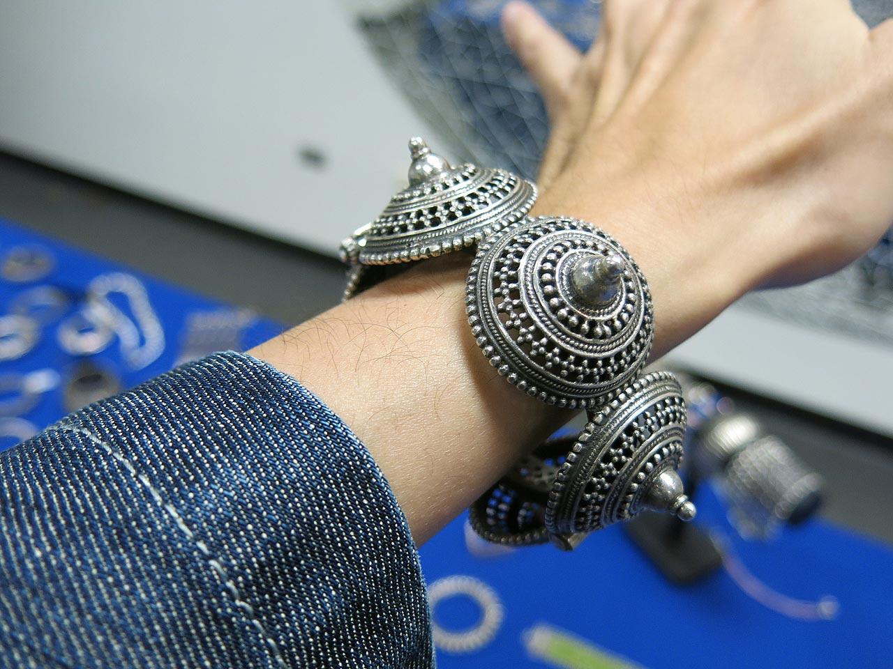 Silver bracelet featuring granulation technique.