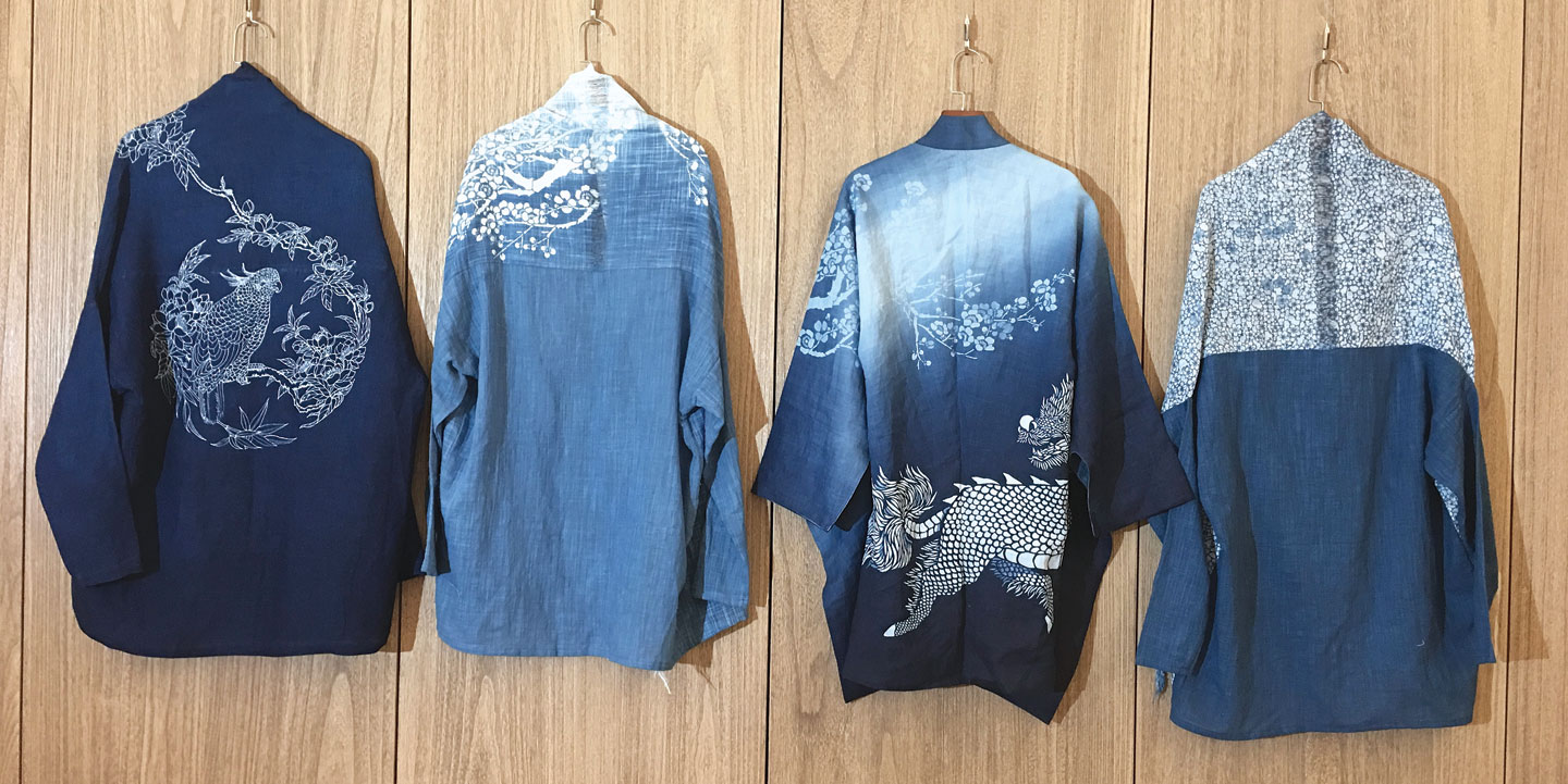 STENCILED INDIGO-DYED CLOTHING, SCARVES AND ACCESSORIES by Wen-Chun Tang (pictured) and Wan-Lee Chen, Taiwan.