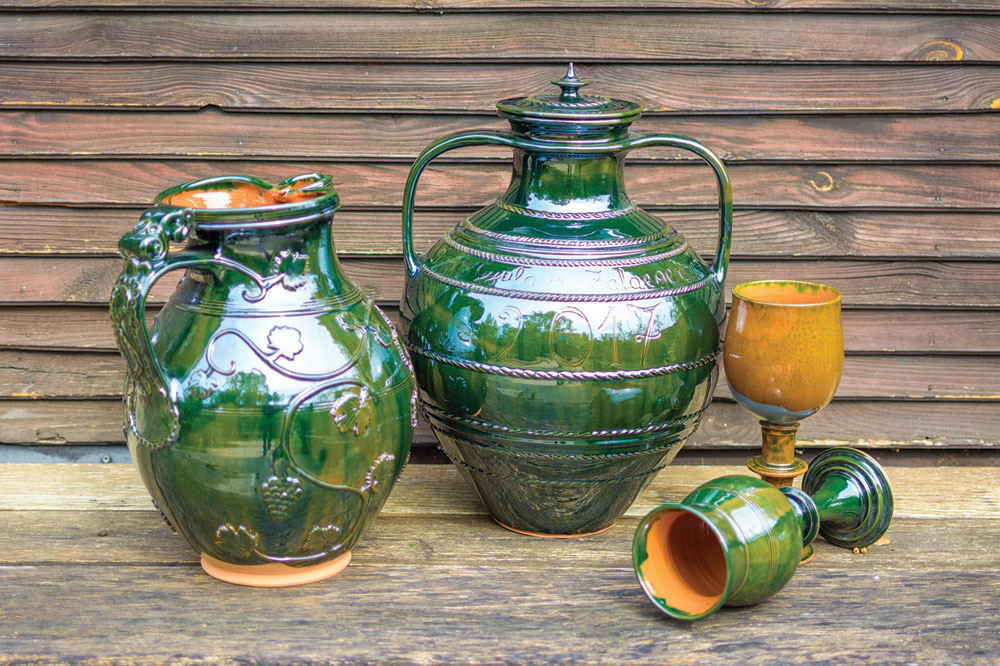 GREEN GLAZED CEREMONIAL WINE VESSELS, JUGS AND GOBLETS by Gyula Borsos, Hungary.