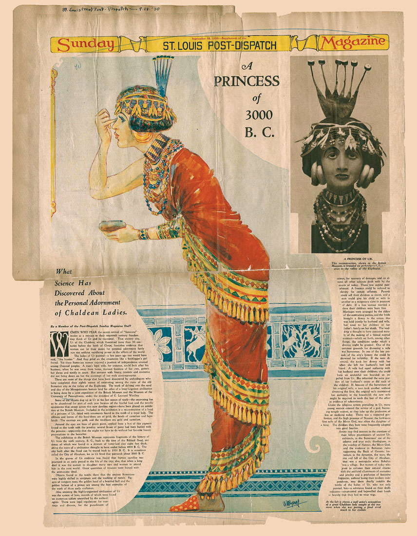 "ST. LOUIS POST-DISPATCH SUNDAY MAGAZINE, September 28, 1930, newspaper article about Royal Tombs of Ur discoveries: ""What Science Has Discovered About the Personal Adornment of Chaldean Ladies."""