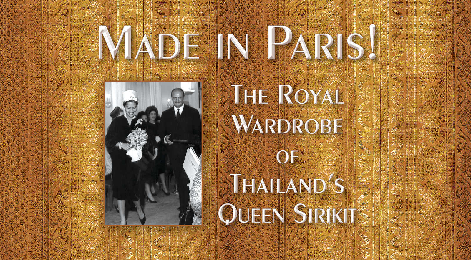 PIERRE BALMAIN escorts Her Majesty Queen Sirikit to a private showing of his Autumn 1960 collection at Maison Balmain in Paris, October 12, 1960.  Photograph courtesy of Pierre Balmain S.A.