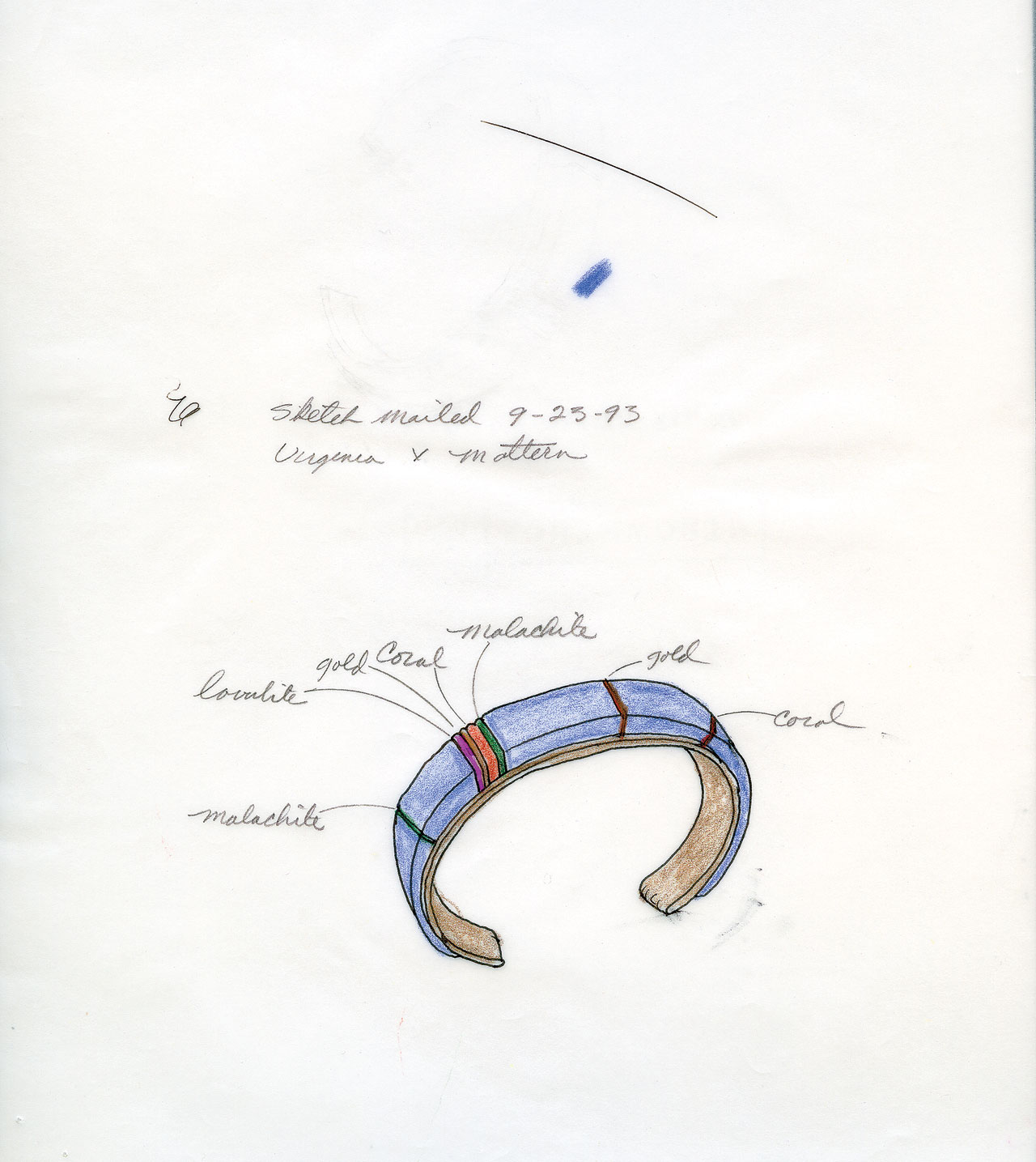 PREPARATORY DRAWINGS of works; one containing the necklace shown here. Chavez sketches all of his pieces to scale and on the final drawing will add notes about materials and dimensions. He has kept many of the drawings to record the development of his career over time.