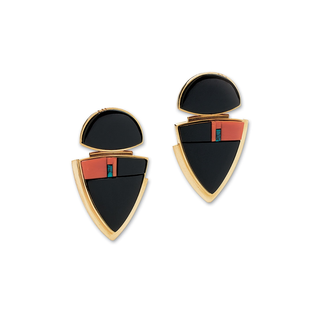 BLACK JADE EARRINGS of coral, turquoise and eighteen karat gold, 3.2 centimeters long, 2003-2004.  Collection of Joan Borinstein.