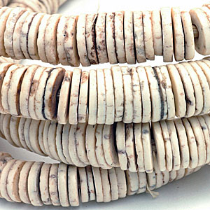 Ostrich egg shell disk beads. CW