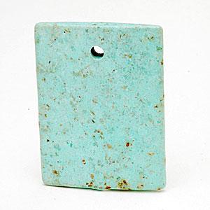 Rectangular pendant of African turquoise. CW