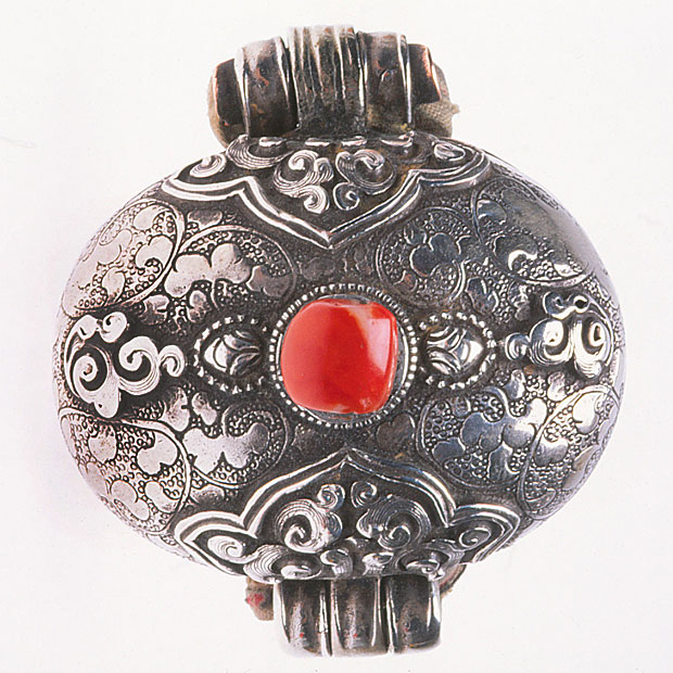 Nepalese Gao box amulet of silver and coral. RKL