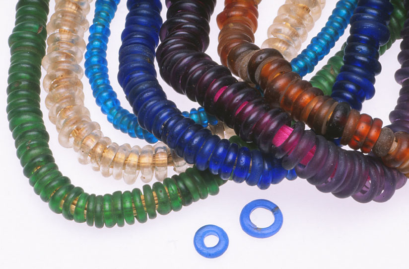 Various colors of Dogon donut annular beads, either Bohemian glass or Asian made, if obtained after the 1990s. RKL